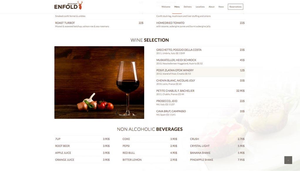 Esempio di sito - menù ristorazione - Elenco prodotti