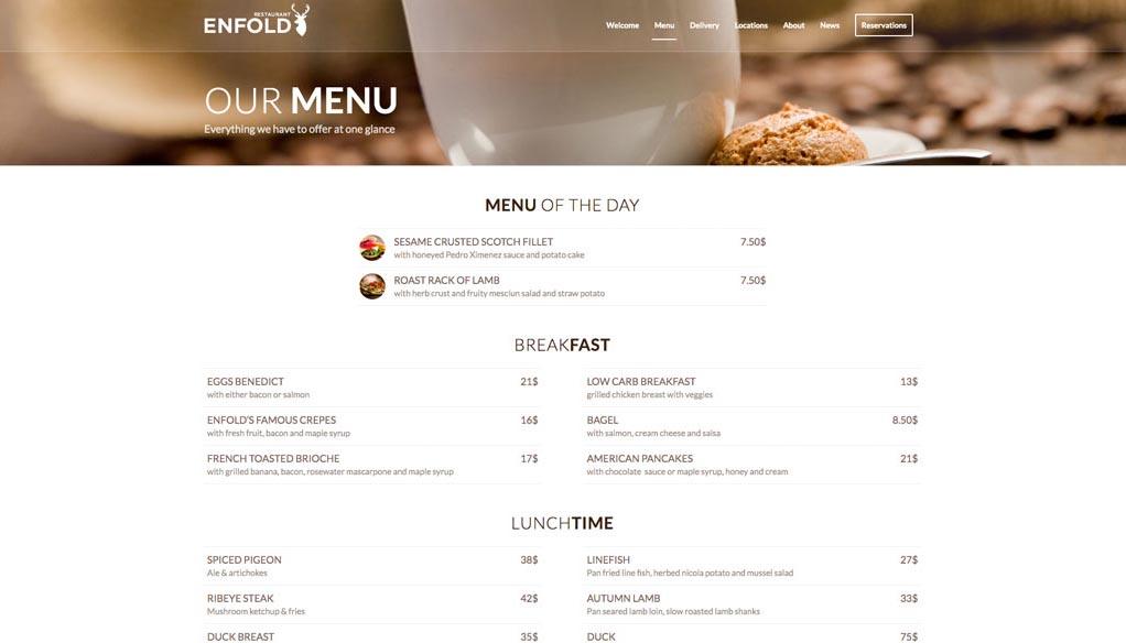 Esempio di sito - menù ristorazione - multi esempio