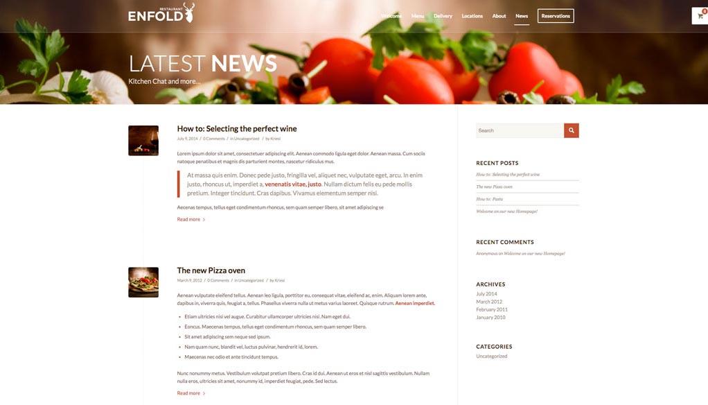 Esempio di sito - Sezione dedicata alla NEWS